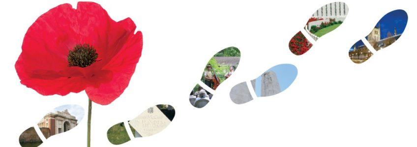 Bright red poppy graphic on a while background. Three pairs of footprints are walking towards the right upper corner.