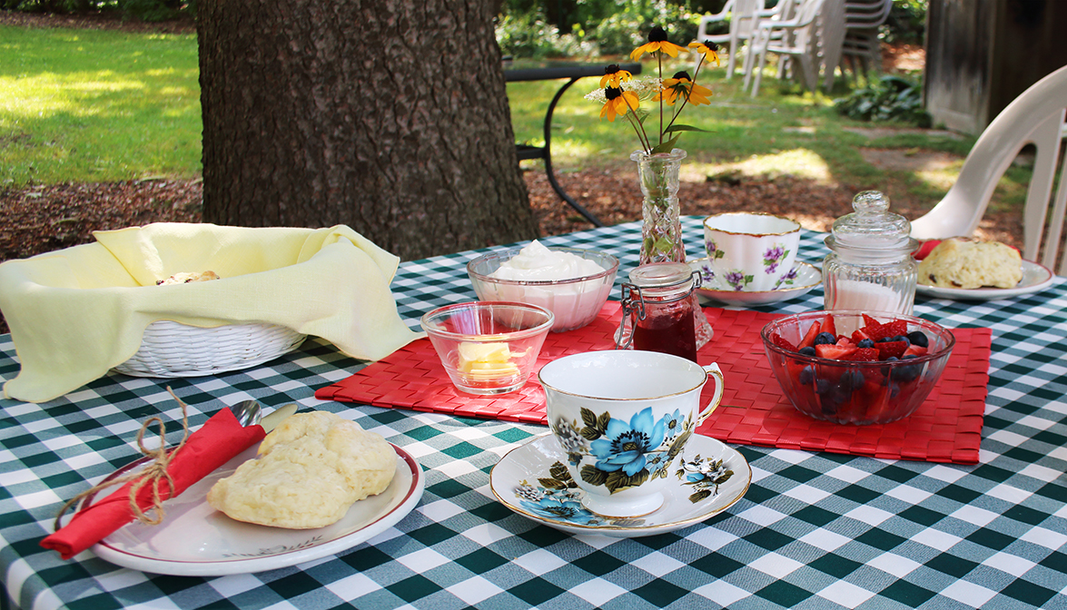 Photo of a tea set up in the backyard of McCrae House. The table is set for two, with two vintage tea cups, a bowl of fruit, and scones.